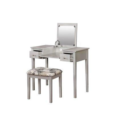 Linon 98135SIL01 Silver Butterfly Vanity And Stool from Linon
