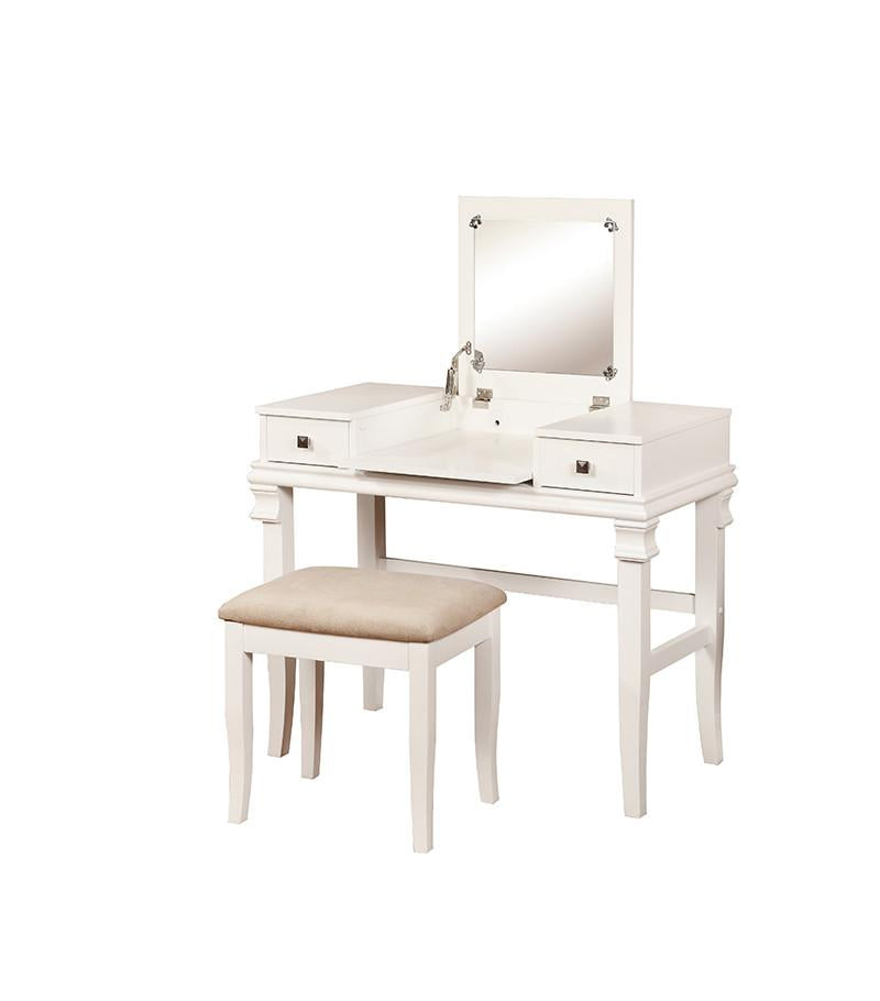Linon 98373WHT-01-KD-U Angela White Vanity Set from Linon