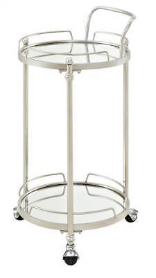 Linon AJUBAR3SILKD01 Round Silver Mirror Bar Cart from Linon