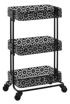 Linon AMME3TIERG1 Black Metal Three Tier Cart from Linon