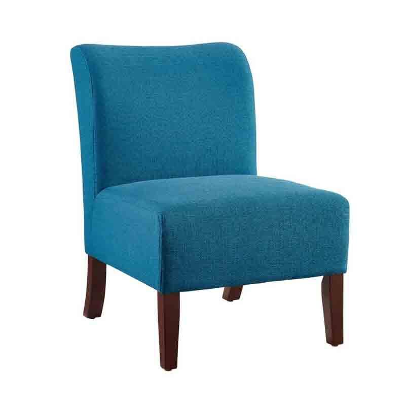 Linon CH085BLU01U Julie Curved Back Blue Slipper Chair from Linon