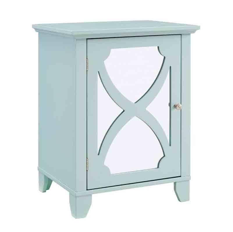 Linon WK124SEA01U Winter Seafoam Small Cabinet With Mirror Door from Linon