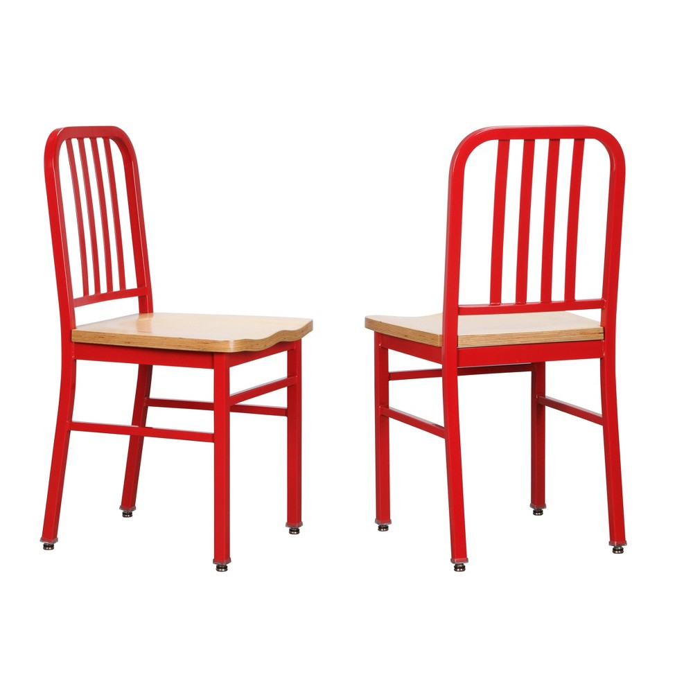 Set of 2 Frazier Metal Side Chairs Red - Linon from Linon