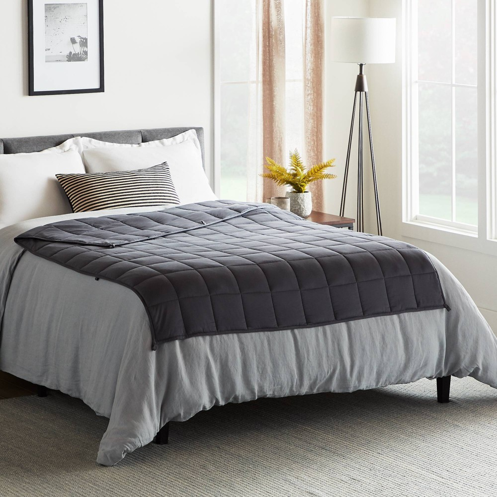 "60"" x 80"" Comfort Collection 20lbs Weighted Bed Blanket Gray - Lucid from Lucid"