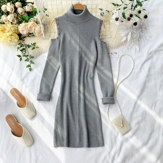 Cold Shoulder Long-Sleeve Knit Dress from Lucuna
