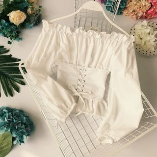 Off-Shoulder Corset Waist Blouse from Lucuna