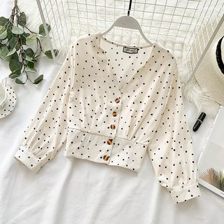 Cropped V-Neck Polka Dot Shirt from Lucuna