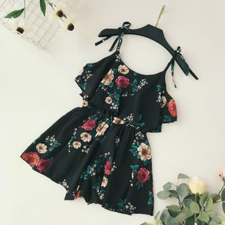 Flower Print Spaghetti-Strap Chiffon Playsuit from Lucuna