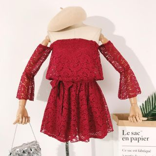 Off-Shoulder Long-Sleeve Lace Playsuit from Lucuna