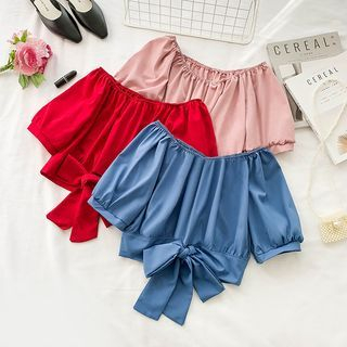 Off-Shoulder Short-Sleeve Bow-Accent Crop Top from Lucuna