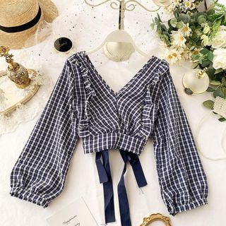 Plaid Ruffle Blouse from Lucuna