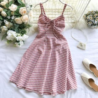 Sleeveless Drawstring Gingham A-Line Dress from Lucuna