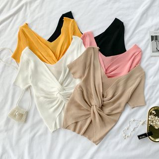V-Neck Cross-Strap Tied Knit Top from Lucuna