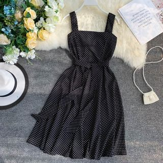 Wide-Strap Dotted A-Line Dress from Lucuna