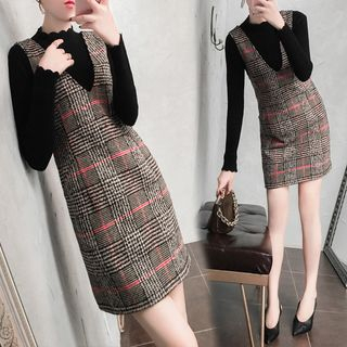 Mock-Neck Long-Sleeve Knit Top / V-Neck Plaid Pinafore Dress / Set from MARGOT