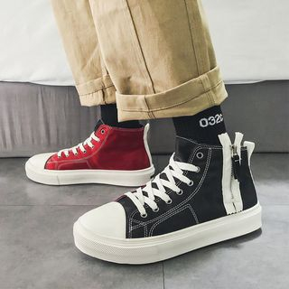 Color Block Size Zipper High-Top Sneakers from MARTUCCI