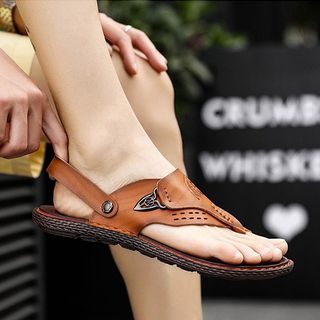 Faux Leather Loop-toe Sandals from MARTUCCI