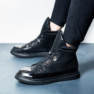 Genuine Leather High-Top Lace Up Sneakers from MARTUCCI