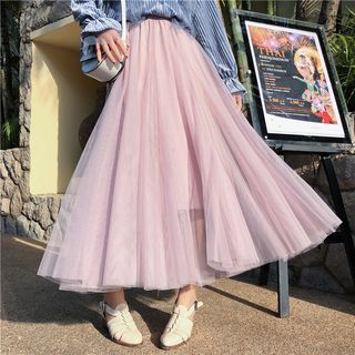 A-Line Maxi Mesh Skirt from MAVIS