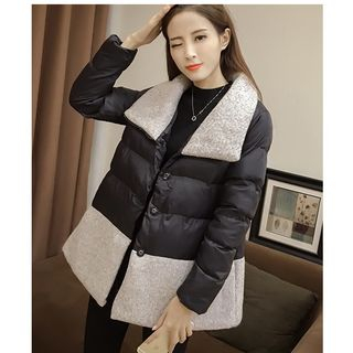 Color Block Padded Jacket with Belt from MAVIS