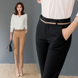 Contrast-Lining Straight-Leg Dress Pants from MAVIS