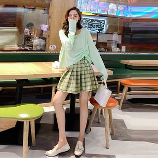 Drawstring Long-Sleeve T-Shirt / Plaid Mini A-Line Skirt / Set from MAVIS