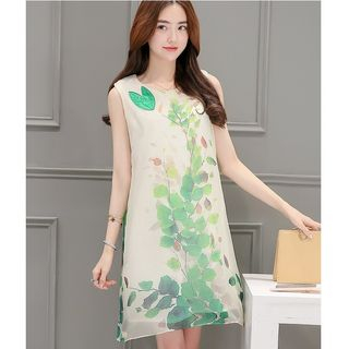 Leaf Print Sleeveless Chiffon Dress from MAVIS