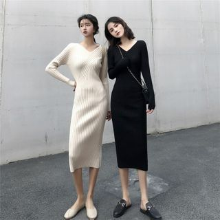 Long-Sleeve Midi Sheath Knit Dress from MAVIS