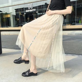 Mesh Midi A-Line Skirt from MAVIS