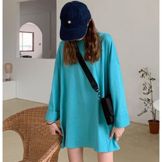 Plain Long-Sleeve T-Shirt Aqua Blue - One Size from MAVIS