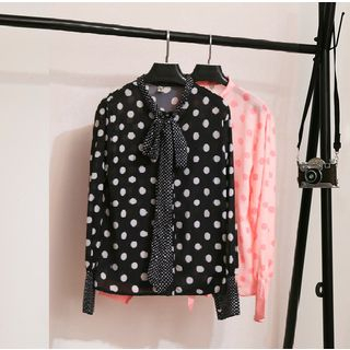 Polka Dot Tie-Neck Chiffon Blouse from MAVIS