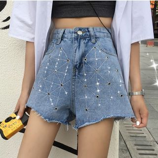 Rhinestone Denim Shorts from MAVIS