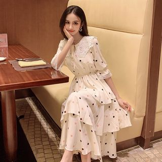 Short-Sleeve Tiered Midi Chiffon Dress from MAVIS