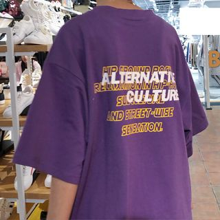 Elbow-Sleeve Lettering T-Shirt Purple - One Size from MELLO