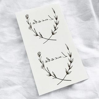 Lettering & Branches Waterproof Temporary Tattoo Black - One Size from METZ