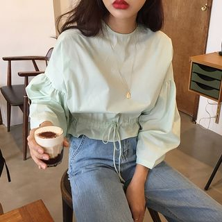 Balloon-Sleeve Drawstring-Waist Blouse As Shown In Figure - One Size from Magma