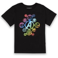 Avengers Rainbow Icon Kids' T-Shirt - Black - 11-12 Years - Black from Marvel