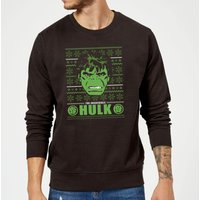 Marvel Comics The Incredible Hulk Retro Face Black Christmas Sweatshirt - XL - Black from Marvel
