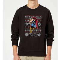 Marvel Comics The Mighty Thor Christmas Knit Black Christmas Sweatshirt - L - Black from Marvel