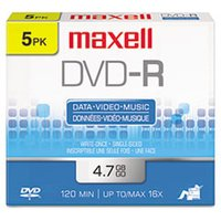 DVD-R Discs, 4.7GB, 16x, w/Jewel Cases, Gold, 5/Pack from Maxell