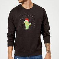 Cactus Santa Hat Sweatshirt - Black - XL - Black from The Christmas Collection