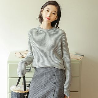 Crew-Neck Long-Sleeve Knit Top from Miahynn