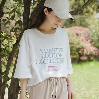 Lettering Elbow-Sleeve T-Shirt White - One Size from Miahynn