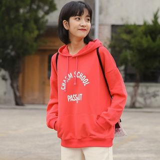Lettering Hoodie Red - One Size from Miahynn