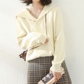 Loose-fit Sailor Collar Knit Top Almond - One Size from Miahynn