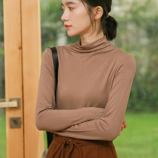 Mock-Neck Long-Sleeve T-Shirt from Miahynn