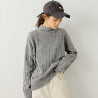Mock Neck Rib-Knit Sweater from Miahynn