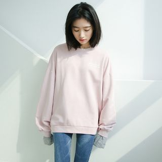 Mock Two-Piece Striped Panel Sweatshirt As Shown In Figure - One Size from Miahynn