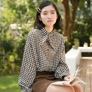 Plaid Shirt Gingham - Coffee - One Size from Miahynn