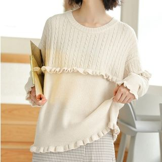 Ruffle Trim Cable Knit Sweater from Miahynn